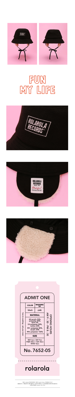 로라로라(ROLAROLA) (CH-19703) EARMUFFS BUCKET HAT BLACK