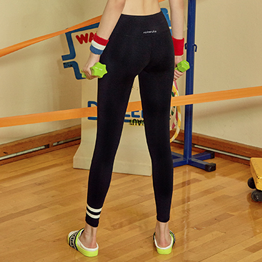 (LS-0016)STRIPE LEGGINGS BLACK
