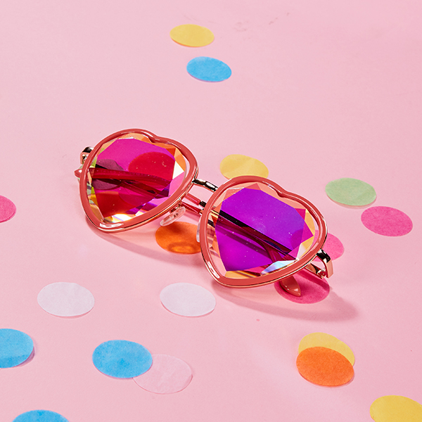 (S-0006)HOLES HEART GLASSES PINK