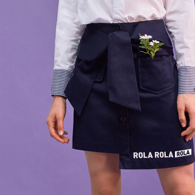 (SK-18103)ROLA RIBBON TAPE SKIRT NAVY