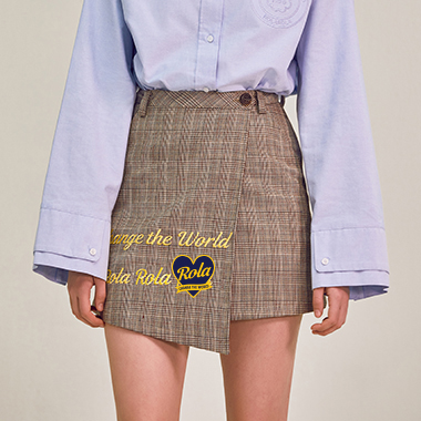 (SK-18101)ROLA CHECKED SKIRT BEIGE