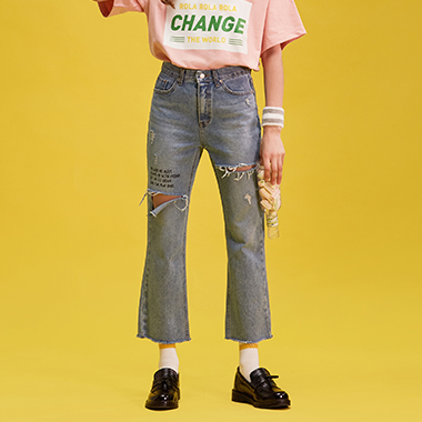 (PT-18103)ROLA DAMAGED DENIM PANTS LIGHT BLUE