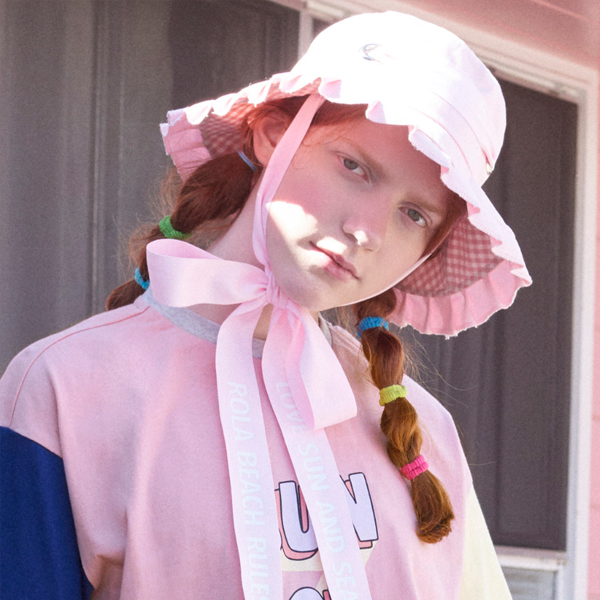(CH-18303)ROLA FRILL HAT PINK