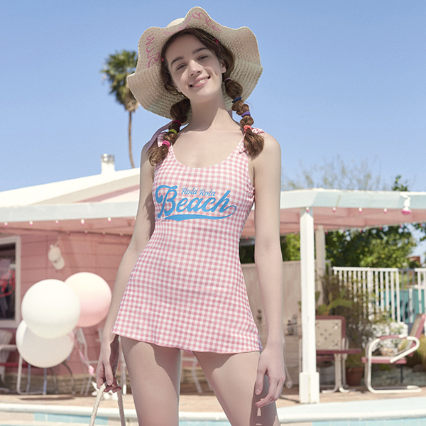 (OP-18371)CHECKED ONEPIECE SWIMSUIT PINK