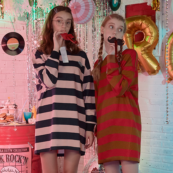 (OP-18542) STRIPE COLLAR ONE-PIECE PINK