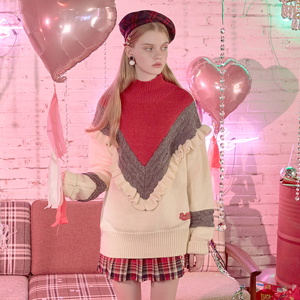 (TS-18717) FRILL TURTLE-NECK KNIT RED