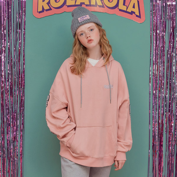 (HD-18738) SLEEVE BOUCLE LETTERING HOOD T-SHIRTS PINK