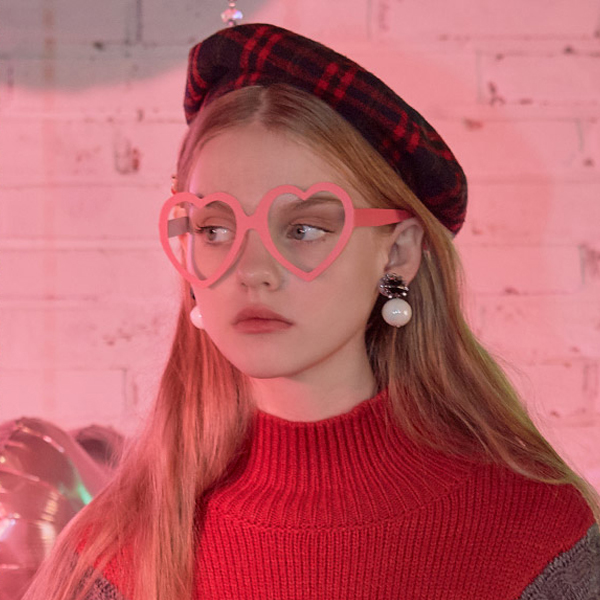 (LV-18712) HEART PAPER GLASSES PINK
