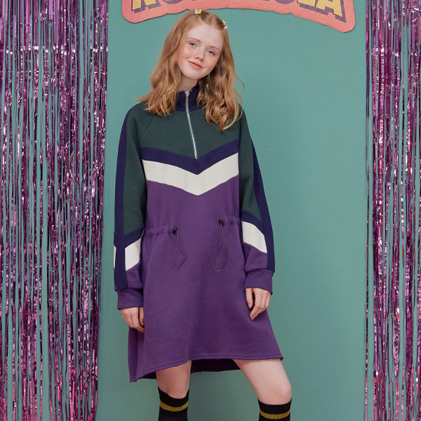 (OP-18722) COLOR BLOCK ANORAK ONE-PIECE PURPLE