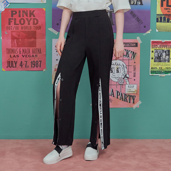 (PT-18754) FRONT SNAP WIDE PANTS BLACK