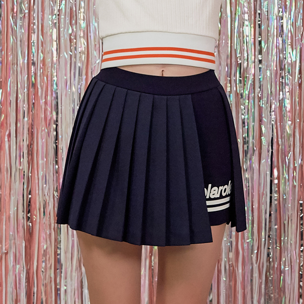 (SK-18552) WRAP PLEATS PANTS SKIRT NAVY
