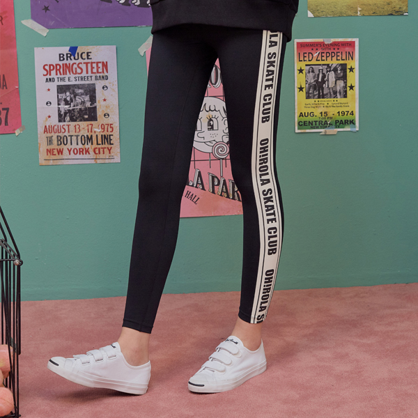 (LS-18553) SIDE LETTERING LEGGINGS BLACK