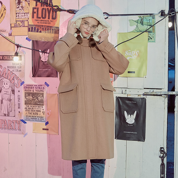 (CT-18706) SOLID DUFFLE COAT BEIGE
