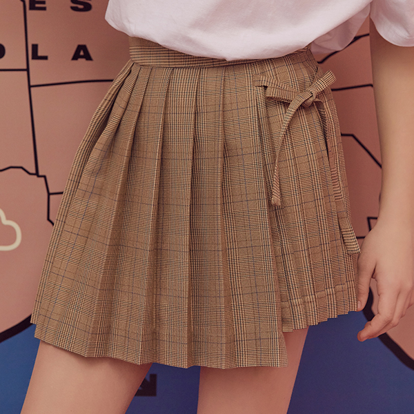 (SK-19146) PLEATS GLEN CHECK SKIRT MULTI