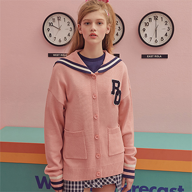 (CD-19132) SAILOR CARDIGAN PINK