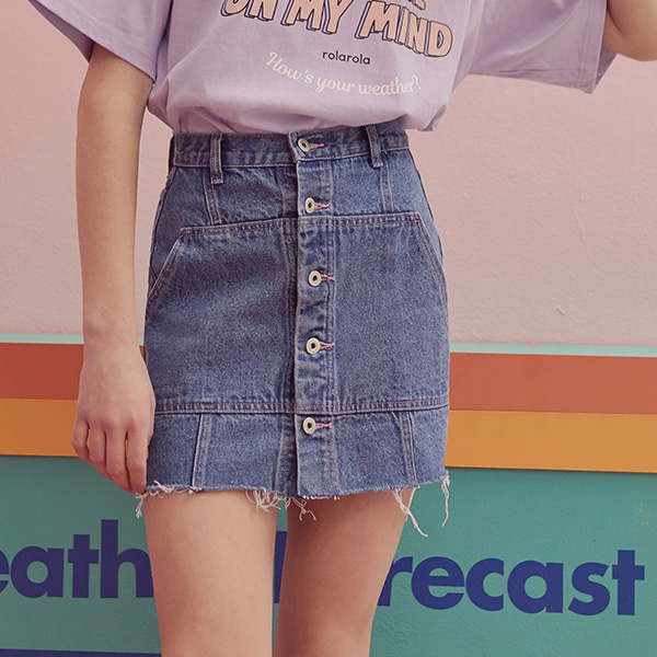 (SK-19345) BUTTON DENIM SKIRT BLUE