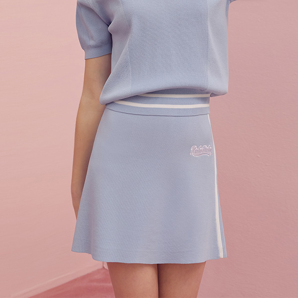 (SK-19131) FLARE KNIT SKIRT LIGHT BLUE