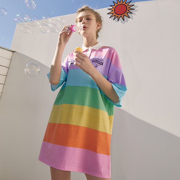 (OP-19320) RAINBOW STRIPE COLLAR ONE-PIECE MULTI