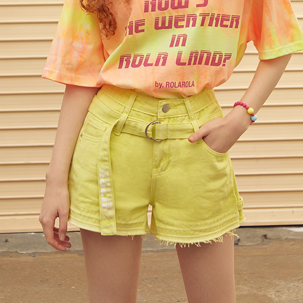 (PT-19343) BELT COLOR DENIM SHORTS LIME