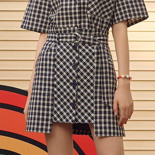 (SK-19346) UNBALANCE BUTTON CHECK SKIRT NAVY