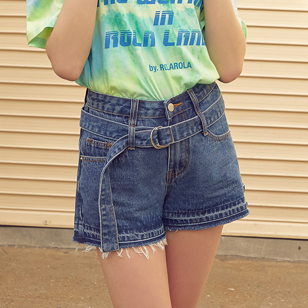 (PT-19342) BELT DENIM SHORTS BLUE