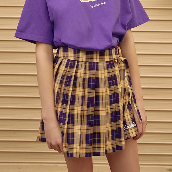 (SK-19347) PLEATS CHECK SKIRT VIOLET