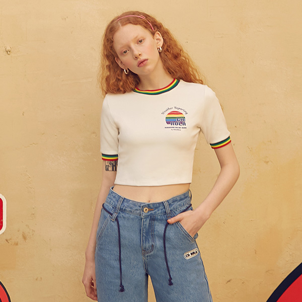 (TS-19313) RAINBOW CROP T-SHIRT WHITE