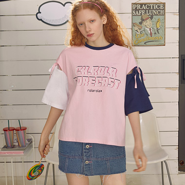 (TS-19310) COLOR BLOCK RIBBON T-SHIRT PINK