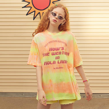 (TS-19311) TIE-DYE T-SHIRT NEON ORANGE