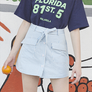 (SK-19339) STRIPE PANTS SKIRT BLUE
