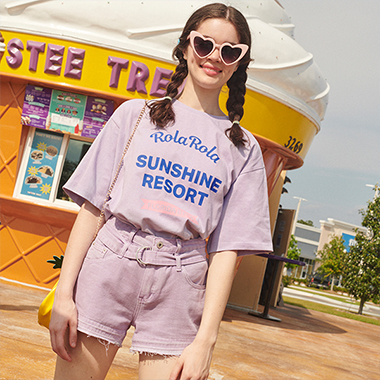 (TS-19331) SUNSHINE RESORT T-SHIRT LAVENDER