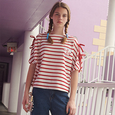 (TS-19336) STRIPE RIBBON T-SHIRT RED