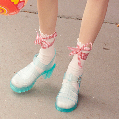 (SC-19307) CHECK RIBBON RUFFLE SOCKS WHITE