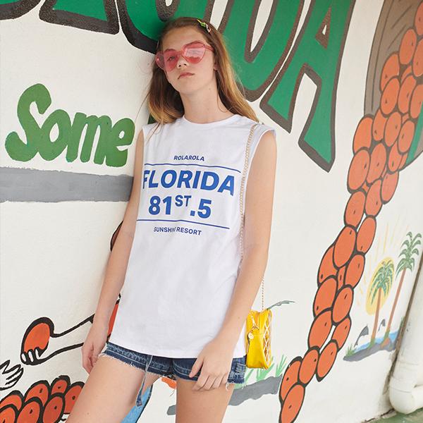 (TS-19334) FLORIDA SLEEVELESS T-SHIRT WHITE