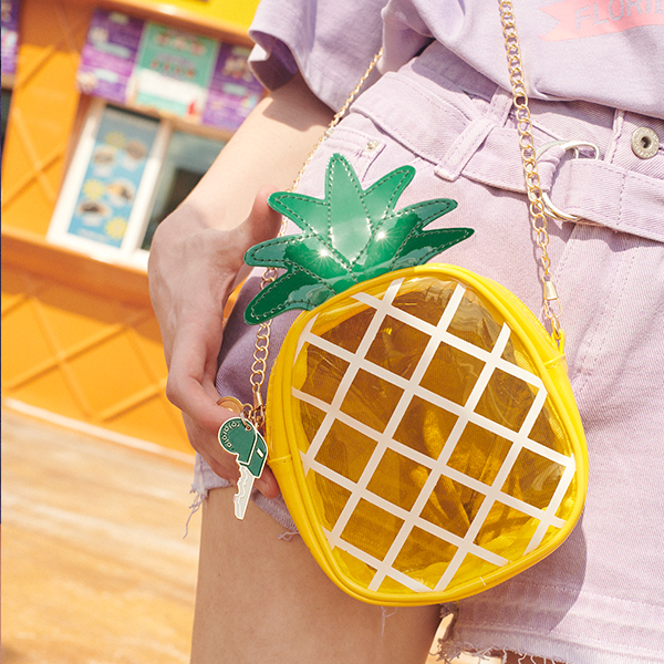 (BG-19313) PINEAPPLE PVC BAG YELLOW