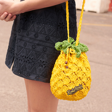 (BG-19317) PINEAPPLE KNIT BAG YELLOW