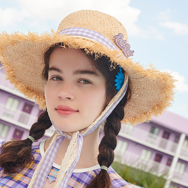 (CH-19312) LACE CHECK RIBBON STRAW HAT LAVENDER