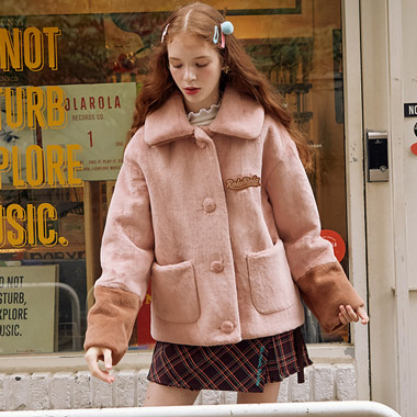 (JK-19702) FAKE FUR JACKET PINK