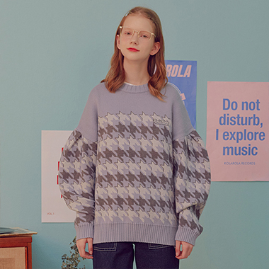 (KT-19734) HOUND TOOTH KNIT PULLOVER LIGHT BLUE