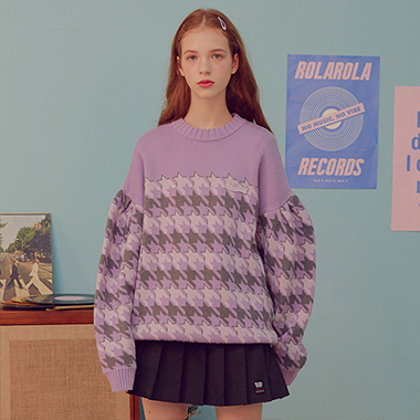 (KT-19734) HOUND TOOTH KNIT PULLOVER LAVENDER