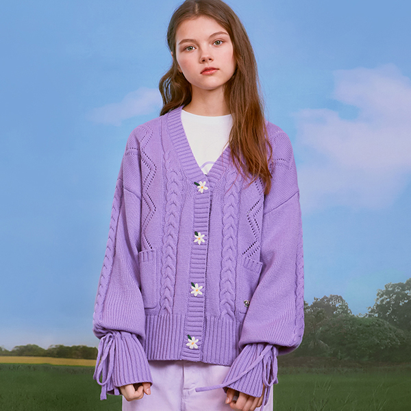 (CD-20131) FLOWER SLEEVE RIBBON CARDIGAN LAVENDER