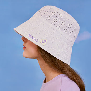 (CH-20106) LACE BUCKET HAT WHITE