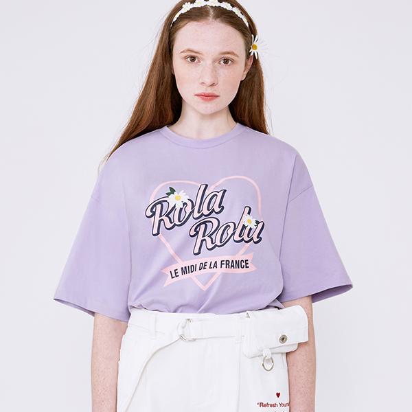 (TS-20305) ROLA HEART FLOWER T-SHIRT LAVENDER