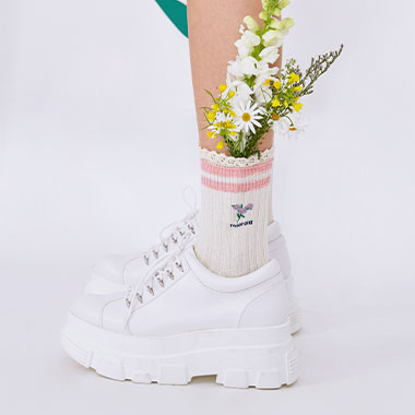 (SC-20108) FLOWER FRILL SOCKS PINK