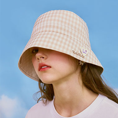 (CH-20105) REVERSIBLE CHECK BUCKET HAT BEIGE