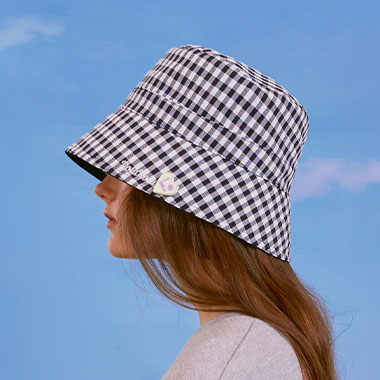 (CH-20105) REVERSIBLE CHECK BUCKET HAT NAVY