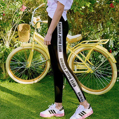 (LS-20162) SIDE LETTERING LEGGINGS BLACK