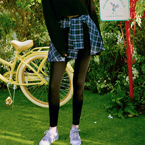 (LS-20164) CHECK TIED-UP LEGGINGS NAVY