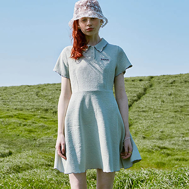 (OP-20318) FIT AND FLARE COLLAR ONE-PIECE MINT