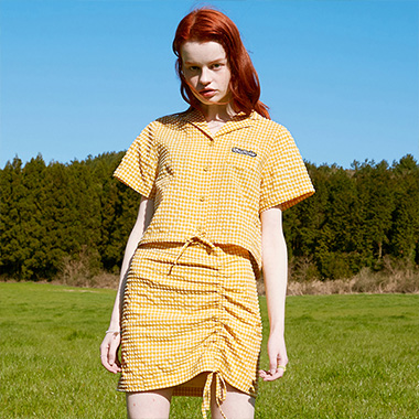 (BL-20302) CHECK STRING CROP SHIRT MUSTARD